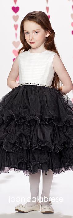 Joan Calabrese for Mon Cheri - Fall 2017 - Style No. 217374 - white and black sleeveless flower girl dress with multi-layered tulle skirt