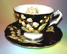 Pretty-Lily-of-the-Valley-on-Black-Aynsley-Tea-Cup-and-Saucer-Set