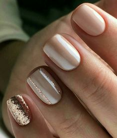 Cute neutral and rose gold nails