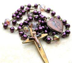 Catholic Rosary Vintage Cross Pearl Prayer Beads