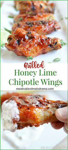 Grilled honey lime chipotle chicken wings are perfect for parties, summer cookouts, game day or Super Bowl snacks! Ad Grilled honey lime chipotle chicken wings are perfect for parties, summer cookouts, game day or Super Bowl snacks! Lime Chicken, Chipotle Chicken, Chicken Wings, Barbecue Recipes, Grilling Recipes, Cooking Recipes, Grilling Tips, Spicy Recipes, Delicious Recipes