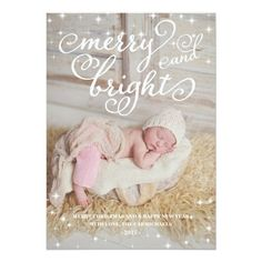 Chic Sparkling Merry & Bright Holidays Photo Card