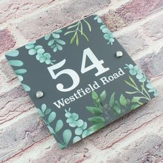 Contemporary Floral Greenery Acrylic House Number Sign – baliandboo Kerb Appeal, House Names, Wall Plug, Stainless Steel Metal, Home Signs, Home Collections, Clear Acrylic, Greenery, Numbers