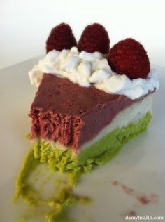 this dairy free ice cream cake includes avocados, bananas, raspberries, coconut milk and more..