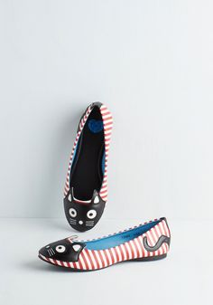 Up Your Alley Cat Flat in Stripes | Mod Retro Vintage Flats | ModCloth.com