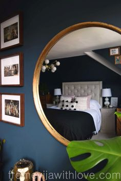 Plastic Mirror Turned Into a Luxurious Looking Piece for under 20£ - From Evija with Love Farrow&Ball Hague Blue