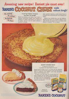 YES! Coconut pie crust. Baker's Coconut recipe, Good Housekeeping, Dec. 1952