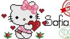 Hello Kitty cross stitch. Hello Kitty, Baby Cross Stitch Patterns, Baby Mouse, Tapestry Crochet, Cross Stitch Flowers, Loom Patterns, Plastic Canvas Patterns, Christmas Cross, Crochet Baby