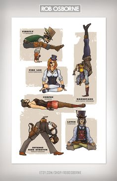 STEAMPUNK YOGA Super Pop Art Print 11x17 by Rob Osborne. $20.00, via Etsy.