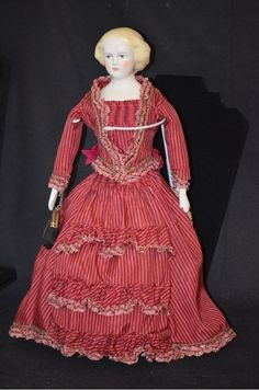 Vintage Doll Emma Clear Jenny Lind Doll Dressed from oldeclectics on Ruby Lane