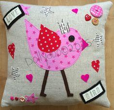 Valentine Bird Linen Cushion