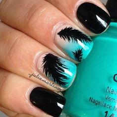 Solid Black Nails w/ 2 Accented Turquoise faded French Tips w/ Black Feathers on top Nail Art. Just add Rhinestone on these nails & they'll become pure perfection in MY Book. Get Nails, Fancy Nails, Love Nails, How To Do Nails, Gorgeous Nails, Pretty Nails, Feather Nail Art, Feather Design, Feather Nail Designs