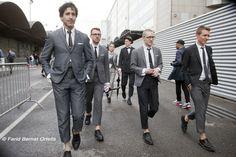 https://flic.kr/p/omJ8PS | Fashion Week,Men's Fashion Spring Summer 2014-2015 /Semaine de la Homme Eté Printemps 2014-2015 | Styles & attitudes..... Guys in Fashion THOM BROWNE's uniformed gang Around THOME BROWNE show