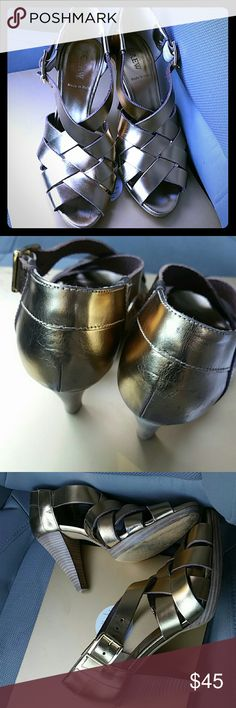 J. Crew leather strappy shoes Size 8 leather shoes by J.Crew made in Italy gold buckle on the sides. Wooden heel. Shoes is absolutely gorgeous Shoes Heels