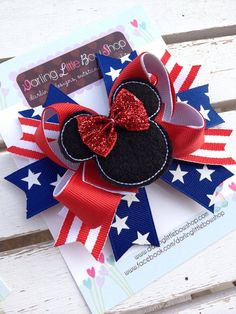 Minnie Mouse Bow  Red White and Blue by DarlingLittleBowShop, $10.95