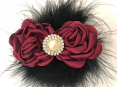 Burgundy Black Clip, Holiday Hair clip for girls, Flower Girl Clip, Bridal Clip, Red Wine Black Pearl Clip, Maroon Clip, Baby headband