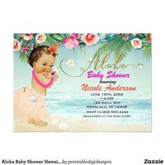 Aloha Baby Shower Hawaiian Retro Beach Invitations