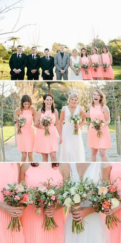 Salmon peach-pink bridesmaid dresses. Vintage Winter Wedding by Jill Andrews Photography - She Wears White