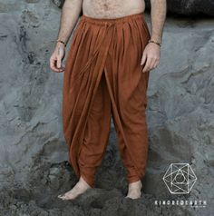 DHOTI PANTS RUST Men Khadi Pants Earthy by KINDREDEARTHware
