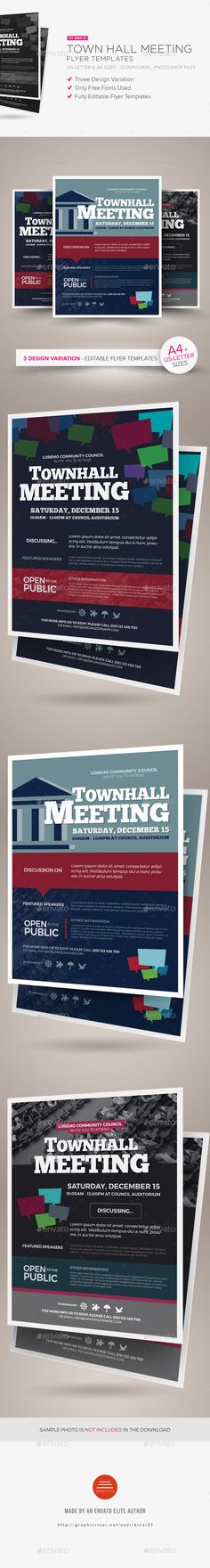 Town Hall Meeting Flyer Templates — Photoshop PSD #meet-up #magazine • Available here → https://graphicriver.net/item/town-hall-meeting-flyer-templates/19177252?ref=pxcr