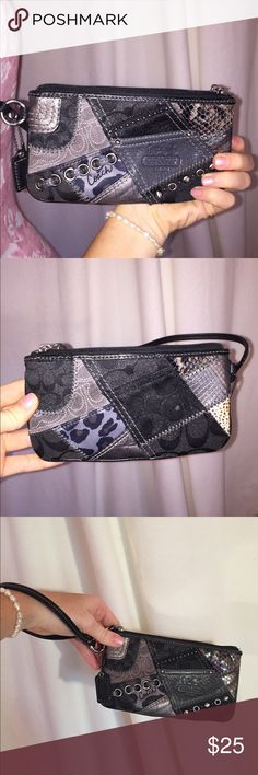 Coach Black Patchwork Wrislet Wallet This leather wristlet by Coach is great to fit your phone, cash, cards, and some makeup when your running out of the house! The trendy patchwork is a subtle all-black statement piece :) No stains, rips, or tears and in great condition Coach Bags Clutches & Wristlets