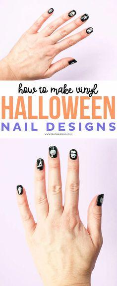 How to Make Vinyl Halloween Nail Designs - Printable Crush #halloween #cricut #cricutcraft #halloweencraft #halloweennails #nailart