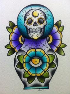Skull Matryoshka Print by Alex Strangler
