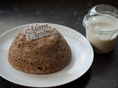 Chritsmas pudding and vanilla cream. Made with Scan bran, eggs and a little mincemeat. A very low fat alternative to Christmas pudding. The cream is fat free fromage frais with vanilla essance added.