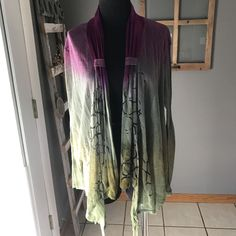 Art of Cloth Purple Olive Abstract Tie Dye Rayon Knit Open Front Cardigan Top L #ArtofCloth #DrapedOpenKnitCardigan #CasualDress