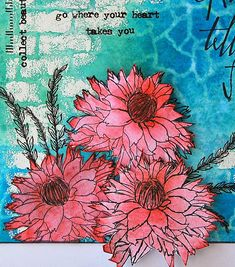 Kath's Blog......diary of the everyday life of a crafter Tim Holtz flower garden stamps, Distress Ink abandoned coral, mermaid lagoon, cracked pistachio. Stencil crackle