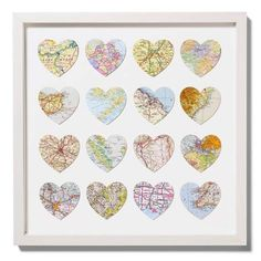 Cut out hearts from maps of all of your favorite or meaningful places -- would be a great anniversary gift or gift for a friend.