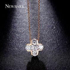NEWBARK Classic Cross Design Pendant Necklaces 5Pcs AAA CZ Diamond Inlayed Women Necklace Rose Gold Plated Fashion Jewelry Gifts