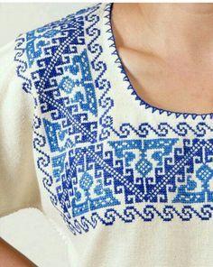Home Decor ideas &Home Garden & Diy Cross Stitching, Cross Stitch Embroidery, Embroidery Patterns, Hand Embroidery, Cross Stitch Designs, Cross Stitch Patterns, Mexican Pattern, Mexican Fashion, Mexican Embroidery