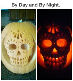 A Sugar Skull/Day of the Dead pumpkin carving by day and by night.