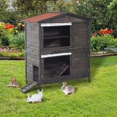Pawhut 48 rabbit hutch outdoor wooden cage double pawhut decker hutches animal Building A Chicken Coop, Diy Chicken Coop, Chicken Pen, Rabbit Playpen, Outdoor Rabbit Hutch, Small Animal Cage, Small Animals, Baby Animals, Bunny Hutch