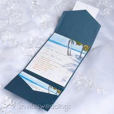 Romantic Beach Scenery Blue Pocket Wedding Invitations IWPS079