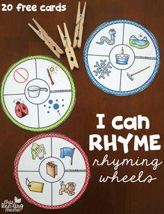 20 Free Rhyming Wheels - I Can Rhyme - This Reading Mama Kindergarten Literacy, Early Literacy, Preschool Classroom, Literacy Games, Phonics Games, Preschool Printables, Future Classroom, Phonological Awareness Activities, Rhyming Activities