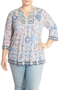 Lucky Brand Embroidered Trim Print Peasant Top (Plus Size)