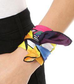 Mira Mikati Rainbow Eye Print Silk Wrist Scarf