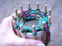 DIY knitting loom spool from PVC pipe & dowels.