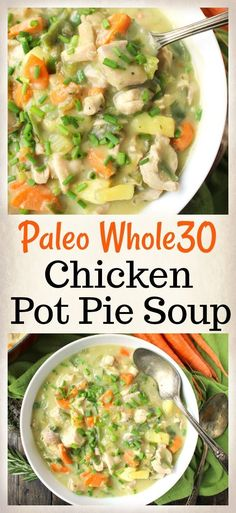 Paleo Pot Pie Soup- comfort food made healthy! Gluten free, dairy free and low FODMAP. Paleo Pot Pie Soup- comfort food made healthy! Gluten free, dairy free and low FODMAP. Whole 30 Soup, Whole 30 Diet, Paleo Whole 30, Whole 30 Recipes, Whole Food Recipes, Healthy Recipes, Whole 30 Meals, Paleo Fall Recipes, Whole 30 Chicken Recipes