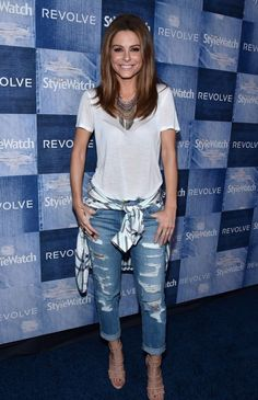 Maria Menounos posed for the cameras while attending People StyleWatch's Denim issue event. It was only fitting that Maria wore a pair of jeans to the event! She wore a pair of Current/Elliott The Rigid