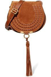 Chloé Marcie mini Schultertasche aus Veloursleder und strukturiertem Leder mit Details im Überwendlichstich