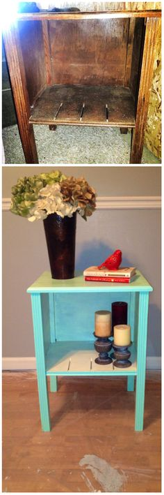 $5 end table at garage sale- before & after !!! Love re-doing / re-purposing furniture!