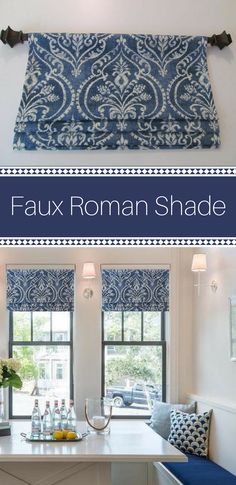 Faux roman shade made to order. looks great in any room in your home. #ad #romanshade #kitchen kitchencurtain #fauxromanshade