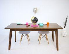 Custom Made The Bossa Nova: Solid Walnut Mid Century Modern Dining Table