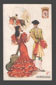 SPAIN Andalucia girl in folk dress Vintage colorful PC