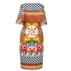 Clover Canyon Neoprene Cuban Cigars Dress ($260) ❤ liked on Polyvore featuring dresses, flounce dress, straight dress, frilly dress, sleeveless ruffle dress and neoprene dress