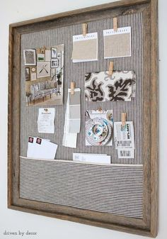 Simple DIY cork bulletin board (love the fabric pocket!). Post includes step by step DIY instructions