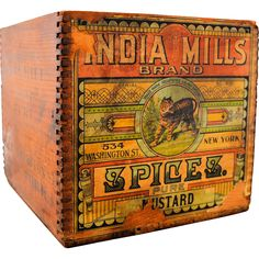 Vintage Antique Wooden Advertising Box India Mills Brand Spices Pure Mustard Original Paper Label Vintage from on Vintage Wooden Crates, Old Crates, Vintage Suitcases, Vintage Tins, Wooden Boxes, Vintage Antiques, Old Boxes, Antique Boxes, Vintage Advertising Signs